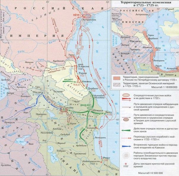 Каспийский поход Петра I. Начало присоединения Кавказа